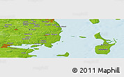"""Physical Panoramic Map of the area around 55°56'31""""N,10°16'30""""E"""