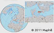 Gray Location Map of Åsebro Huse