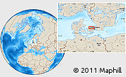 Shaded Relief Location Map of Åsebro Huse