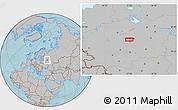 Gray Location Map of Mar'ina Roshcha, hill shading