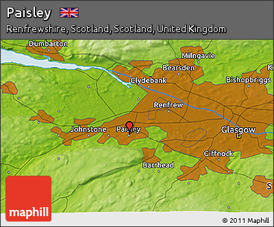Free Physical 3D Map of Paisley