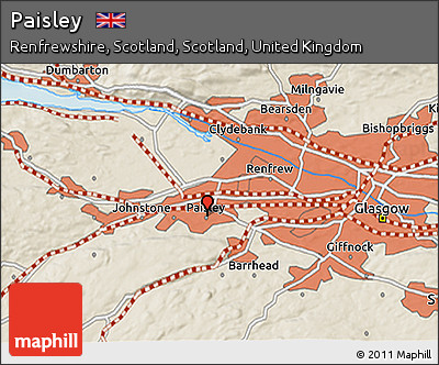 Free Shaded Relief 3D Map of Paisley