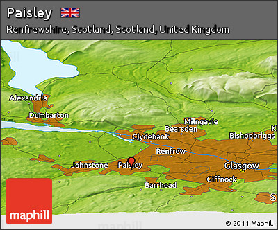 Free Physical Panoramic Map of Paisley