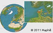 Satellite Location Map of Herning