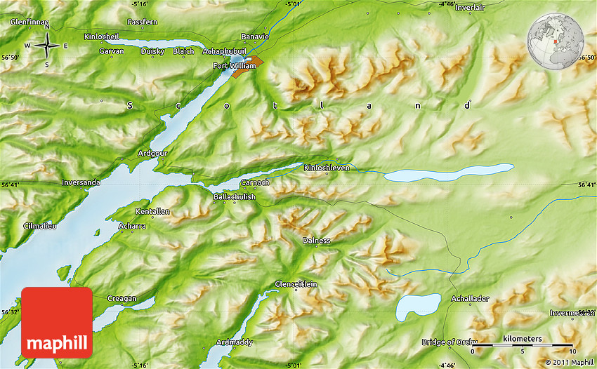 Kinlochleven United Kingdom  city photos : Physical Map of Kinlochleven