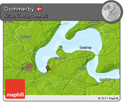 Free Physical 3D Map of Dommerby
