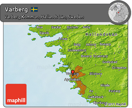 Free Physical D Map Of Varberg - Varberg sweden map