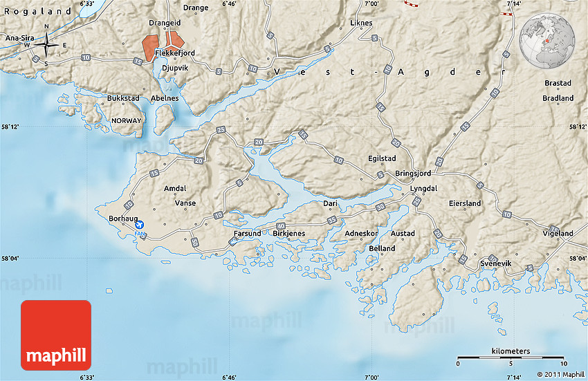 Shaded Relief Map of Farsund