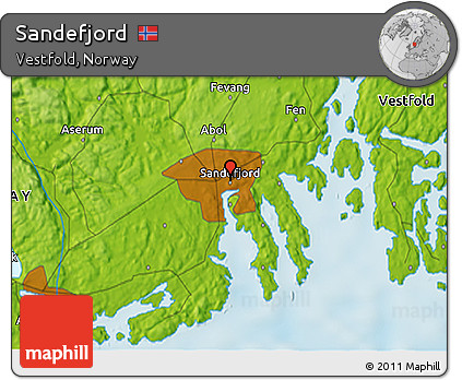 Free Physical 3D Map of Sandefjord