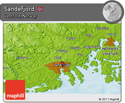 Free Physical Panoramic Map of Sandefjord