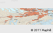 Shaded Relief Panoramic Map of Stockholm