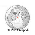 """Outline Map of the Area around 59° 34' 34"""" N, 43° 16' 29"""" W, rectangular outline"""
