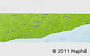 """Physical Panoramic Map of the area around 5°25'24""""N,0°46'30""""W"""