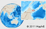 """Shaded Relief Location Map of the area around 5°25'24""""N,119°4'29""""E"""