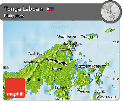 Free Physical Map Of Tonga Laboan - Tonga map