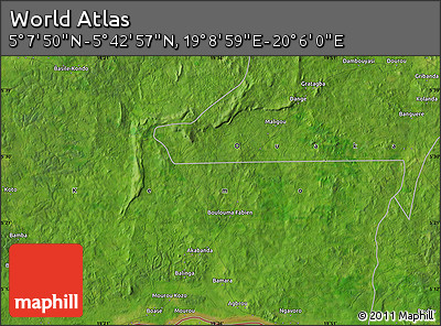 "Satellite Map of the Area around 5° 25' 24"" N, 19° 37' 30"" E"
