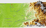 """Physical 3D Map of the area around 5°25'24""""N,76°25'30""""W"""