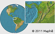 """Satellite Location Map of the area around 5°25'24""""N,76°25'30""""W"""