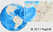 """Shaded Relief Location Map of the area around 5°25'24""""N,76°25'30""""W"""