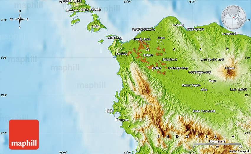 Physical Map Of Banda Aceh