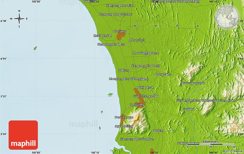 Physical Map Of Alor Setar - Alor setar map
