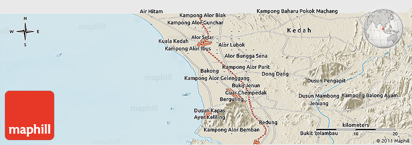 Shaded Relief Panoramic Map Of Alor Setar - Alor setar map