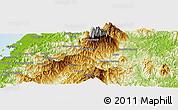 Physical Panoramic Map of Kampong Kationg