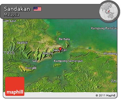 Free Satellite 3D Map of Sandakan