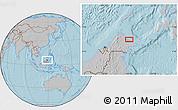 Gray Location Map of Kampung Gelam, hill shading