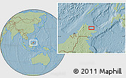 Savanna Style Location Map of Kampung Gelam, hill shading