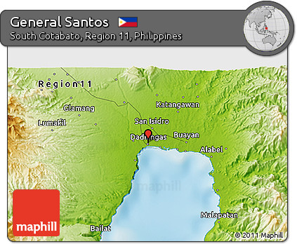 Free Physical 3D Map of General Santos