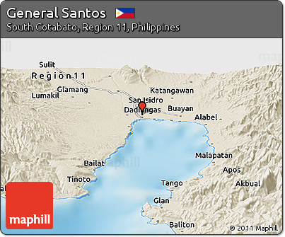 Free Shaded Relief Panoramic Map of General Santos