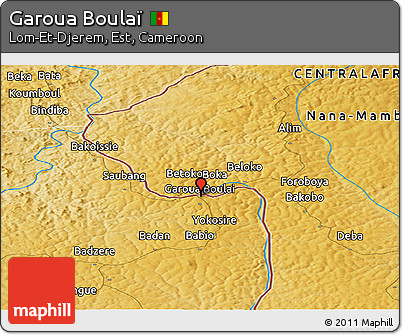 Free Physical Panoramic Map of Garoua Boula