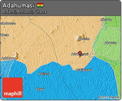 Political 3D Map of Adahumasi