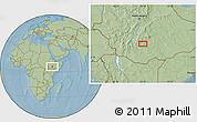 Savanna Style Location Map of Kontema, hill shading