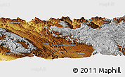 """Physical Panoramic Map of the area around 5°35'51""""S,142°52'30""""E"""