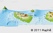"""Physical Panoramic Map of the area around 5°35'51""""S,147°58'29""""E"""