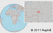 Gray Location Map of Kalonji-Tshikunga