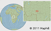 Savanna Style Location Map of Kalonji-Tshikunga, hill shading