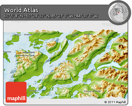 """Physical 3D Map of the Area around 60°16'48""""N,44°58'30""""W"""