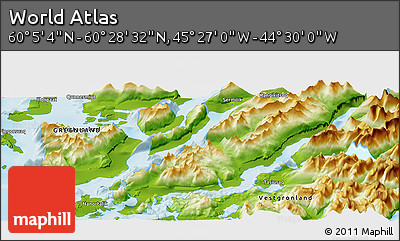 """Physical Panoramic Map of the Area around 60°16'48""""N,44°58'30""""W"""