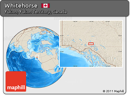 Free Shaded Relief Location Map Of Whitehorse