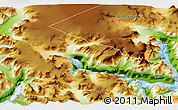 """Physical 3D Map of the area around 60°37'44""""N,44°7'30""""W"""