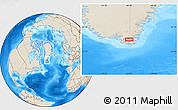 """Shaded Relief Location Map of the area around 60°37'44""""N,44°7'30""""W"""