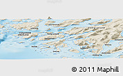 """Shaded Relief Panoramic Map of the area around 60°37'44""""N,45°49'30""""W"""