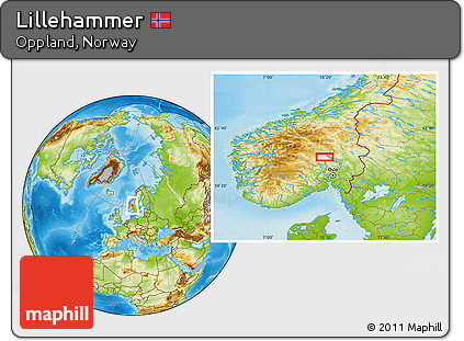Free Physical Location Map of Lillehammer