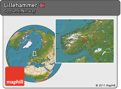 Free Satellite Location Map of Lillehammer