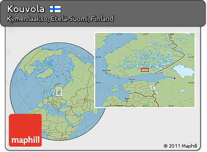 Free Savanna Style Location Map of Kouvola