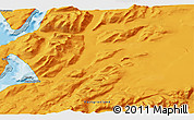 """Political 3D Map of the area around 60°58'34""""N,44°58'30""""W"""