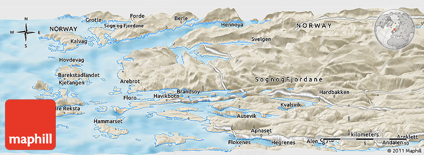 Shaded Relief Panoramic Map of Flor
